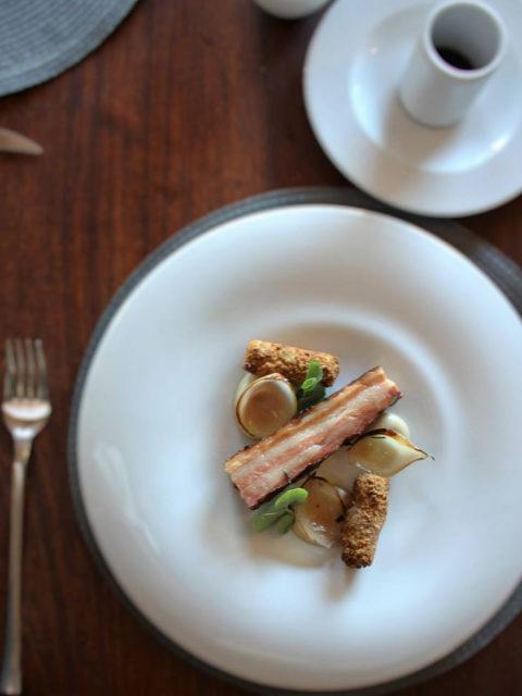 Forage Restaurant at Wildekrans - E A R L G R E Y S M O K E D P O R K B E L L Y , Rosewater Pearl Onions, Dried Apple Celeriac Spread, Truffle Potato