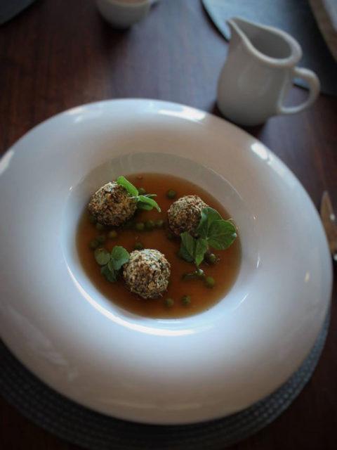 Forage Restaurant at Wildekrans - P E A A N D H A M H O C K B R O T H, Ham Hock Dumplings, Pea Tendrils